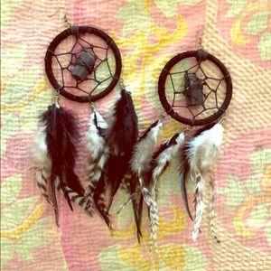 Jewelry - Handmade Black tourmaline Dream catcher earrings